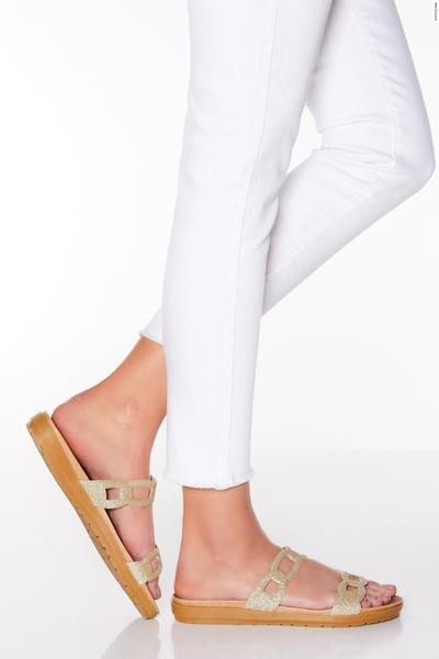 Comfort Gold Glitter Mule Sandals